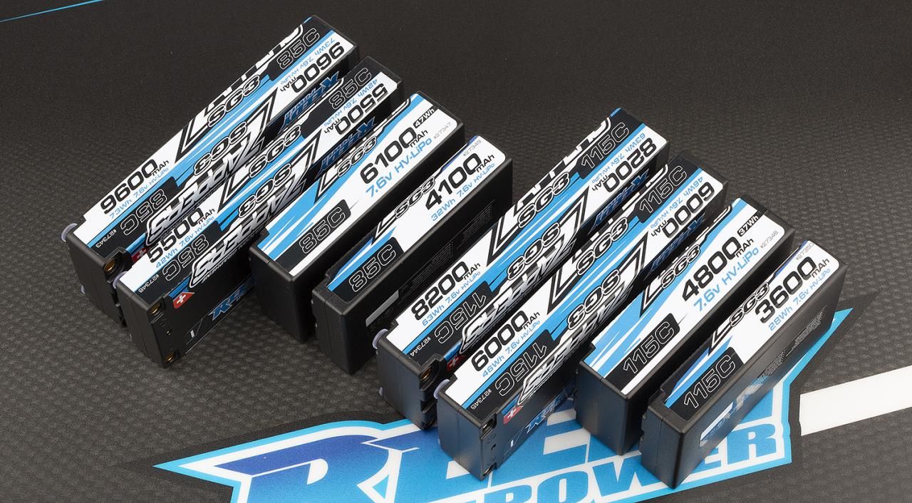 photo of Reedy SG3 batteries, 85c left, 115C right.