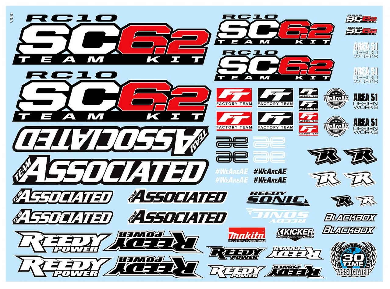 photo of #71154 RC10SC6.2 Decal Sheet